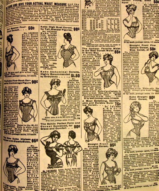 pagina de corsete din catalogul sears 1905